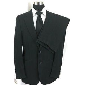 Burberry 2PC Suit 41R Black Stripes Wool pants 36
